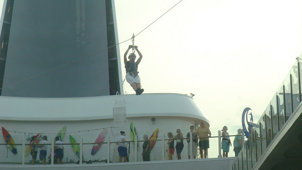 Ziplining on board Oasis of the Seas